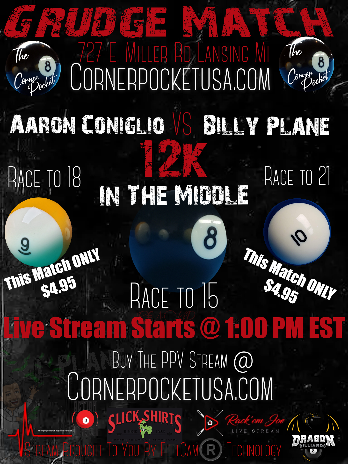 Aaron Conigilo vs Billy Plane $12k in the middle 8, 9, and 10-ball